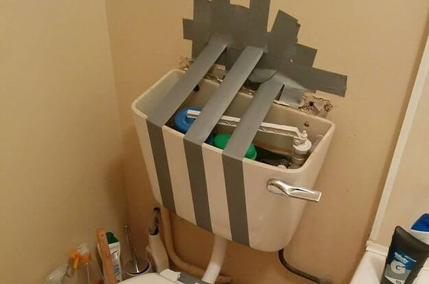 cistern repaired with duct tape